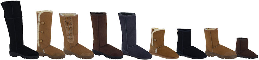 Selection of sheepskin boot styles