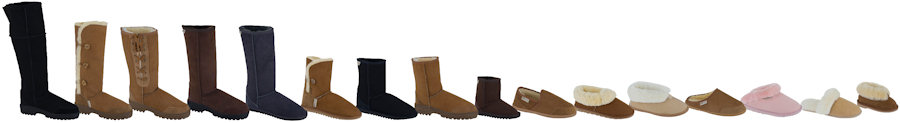 Selection of sheepskin footwear slipper and boot styles